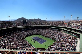 """An overall view of Stadium 1 as Roger Federer plays Tomas Berdych on day twelve at the Indian Wells Tennis Garden in Indian Wells, California Friday, March 20, 2015."""