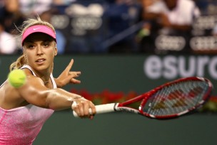 """Sabine Lisicki during a women's semi-final match against Jelena Jankovic on day twelve at the Indian Wells Tennis Garden in Indian Wells, California Friday, March 20, 2015."""