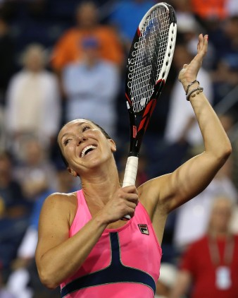 """Jelena Jankovic during a women's semi-final match against Sabine Lisicki on day twelve at the Indian Wells Tennis Garden in Indian Wells, California Friday, March 20, 2015."""