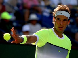 """Rafael Nadal during a men's quarter-final match against Milos Raonic on day twelve at the Indian Wells Tennis Garden in Indian Wells, California Friday, March 20, 2015."""