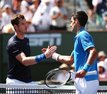 A semifinal match between Novak Djokovic and Andy Murray on Stadium 1 at the 2015 BNP Paribas Open in Indian Wells, California on Saturday, March 21, 2015.""