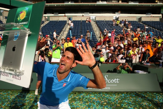 """Novak Djokovic during the 2015 BNP Paribas Open Men's Singles trophy ceremony in Indian Wells, California on Sunday, March 22, 2015."""