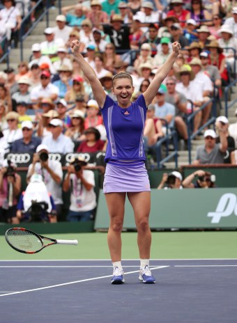 """Simona Halep reacts after defeating Jelena Jankovic in the 2015 BNP Paribas Open Women's Singles Final in Indian Wells, California on Sunday, March 22, 2015."""