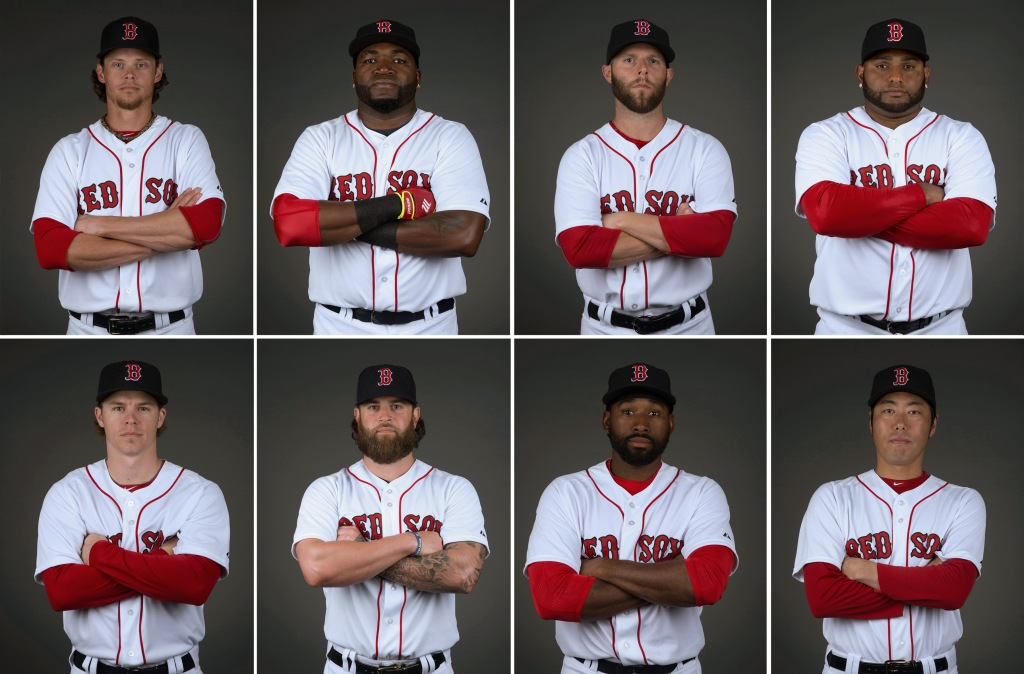 """Members of the Boston Red Sox pose for a portrait during team photo day at JetBlue Park in Fort Myers, Florida Sunday, March 1, 2015."""