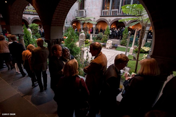 """Guests attend a Friends of Fenway Court Patron Nasturtium Party at the Isabella Stewart Gardner Museum in Boston, Massachusetts Wednesday, April 1, 2015."""
