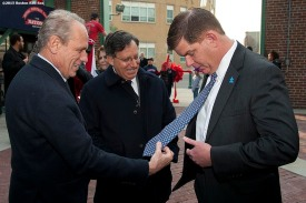 """Boston Red Sox President & CEO Larry Lucchino and Chairman Tom Werner greet Boston Mayor Marty Walsh during a walk through of Fenway Park in Boston, Massachusetts Monday, April 6, 2015."""