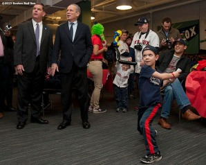 """Boston Red Sox President & CEO Larry Lucchino, Chairman Tom Werner and Boston Mayor Marty Walsh tour the Wally Clubhouse during a walk through of Fenway Park in Boston, Massachusetts Monday, April 6, 2015."""