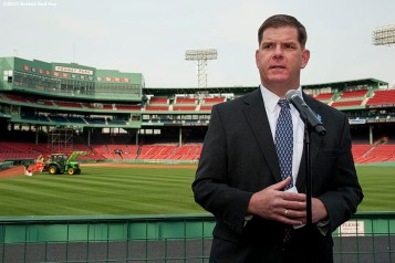 """Boston Mayor Marty Walsh speaks at a press conference during a walk through of Fenway Park in Boston, Massachusetts Monday, April 6, 2015."""