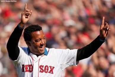 """Former Boston Red Sox pitcher Pedro Martinez is introduced during a pre-game ceremony before the Boston Red Sox 2015 home opener against the Washington Nationals Monday, April 13, 2015 at Fenway Park in Boston, Massachusetts."""