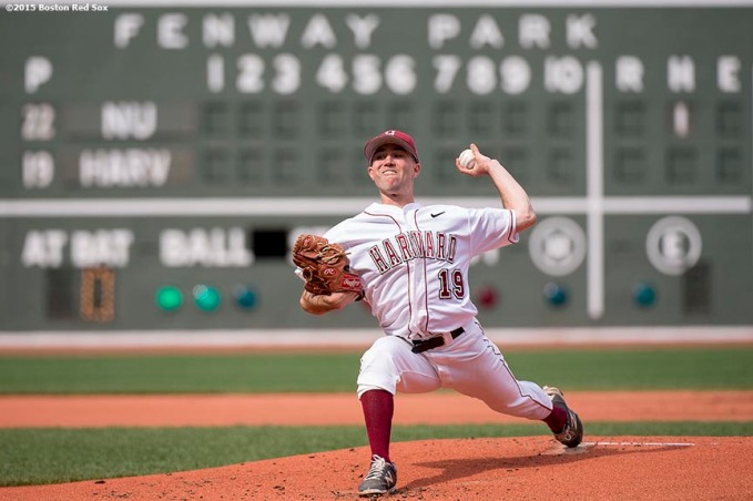 """Game action during a game between Harvard University and Northeastern University as part of the Baseball Beanpot at Fenway Park in Boston, Massachusetts Wednesday, April 22, 2015."""