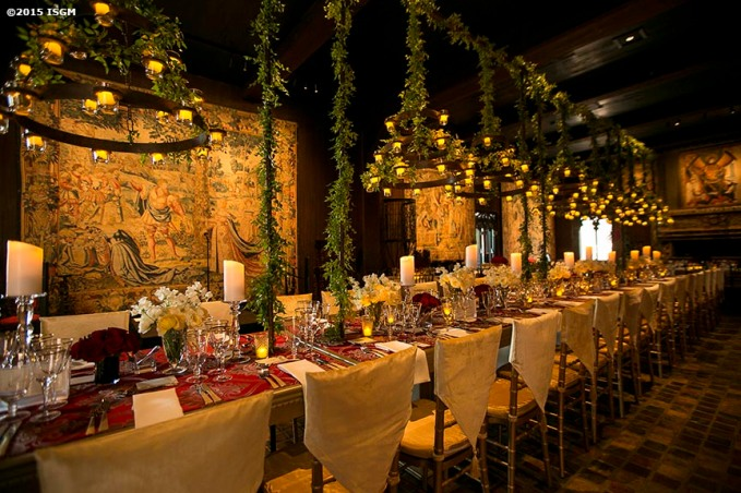 """The Tapestry Room is decorated for the 2015 Gardner Gala at the Isabella Stewart Gardner Museum in Boston, Massachusetts Saturday, May 2, 2015."""