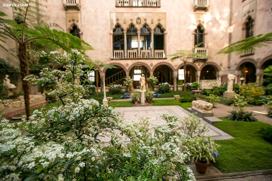 """The courtyard is decorated for the 2015 Gardner Gala at the Isabella Stewart Gardner Museum in Boston, Massachusetts Saturday, May 2, 2015."""