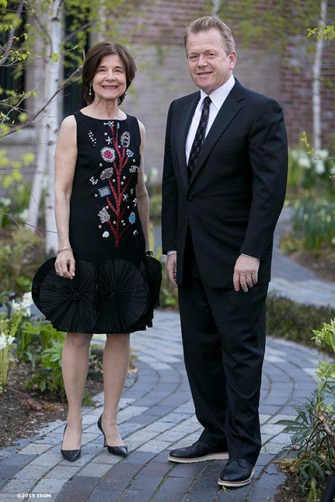 """Anne Hawley and Michael Van Valkenburgh during a gala at the Isabella Stewart Gardner Museum in Boston, Massachusetts Saturday, May 2, 2015."""