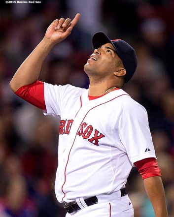 """Boston Red Sox pitcher Dalier Hinojosa reacts after making the final out of the eighth inning of a game against the New York Yankees at Fenway Park in Boston, Massachusetts Sunday, May 3, 2015. It was his Major League debut."""