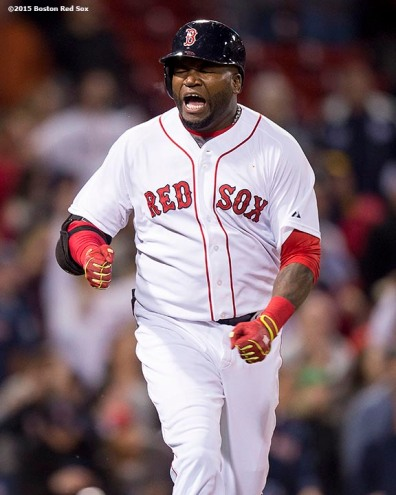 """Boston Red Sox designated hitter David Ortiz reacts after recording the final out during the ninth inning of a game against the New York Yankees at Fenway Park in Boston, Massachusetts Sunday, May 3, 2015."""