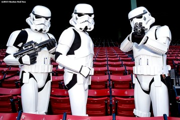 """Storm Troopers pose for a group photograph during Star Wars Night at Fenway Park in Boston, Massachusetts Monday, May 4, 2015."""