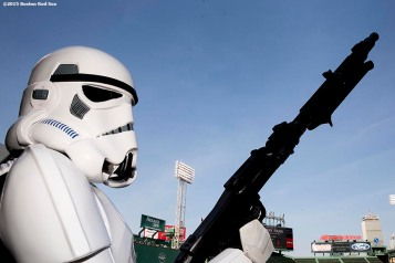 """A Storm Trooper poses for a photo during Star Wars Night at Fenway Park in Boston, Massachusetts Monday, May 4, 2015."""