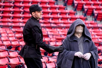 """Star Wars characters during Star Wars Night at Fenway Park in Boston, Massachusetts Monday, May 4, 2015."""