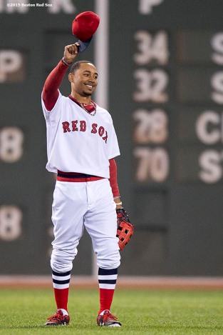 """Boston Red Sox center fielder Mookie Betts reacts after defeating theTampa Bay Rays at Fenway Park in Boston, Massachusetts Tuesday, May 5, 2015."""