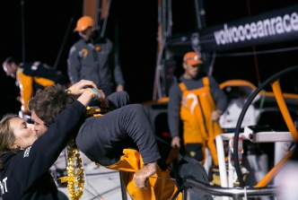 NEWPORT, RI - MAY 07: In this handout image provided by the Volvo Ocean Race, Alvimedica boat captain Charlie Enright is greeted during the finish of Leg 6 from Itajai to Newport on May 7, 2015 in Newport, Rhode Island. The Volvo Ocean Race 2014-15 is the 12th running of this ocean marathon. Starting from Alicante in Spain on October 11, 2014, the route, spanning some 39,379 nautical miles, visits 11 ports in eleven countries (Spain, South Africa, United Arab Emirates, China, New Zealand, Brazil, United States, Portugal, France, The Netherlands and Sweden) over nine months. The Volvo Ocean Race is the world's premier ocean yacht race for professional racing crews. (Photo by Billie Weiss / Volvo Ocean Race via Getty Images)