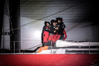 NEWPORT, RI - MAY 07: In this handout image provided by the Volvo Ocean Race, Dongfeng Race Team winners of Leg 6 arriving to Newport. during the finish of Leg 6 from Itajai to Newport on May 7, 2015 in Newport, Rhode Island. The Volvo Ocean Race 2014-15 is the 12th running of this ocean marathon. Starting from Alicante in Spain on October 11, 2014, the route, spanning some 39,379 nautical miles, visits 11 ports in eleven countries (Spain, South Africa, United Arab Emirates, China, New Zealand, Brazil, United States, Portugal, France, The Netherlands and Sweden) over nine months. The Volvo Ocean Race is the world's premier ocean yacht race for professional racing crews. (Photo by Billie Weiss / Volvo Ocean Race via Getty Images)