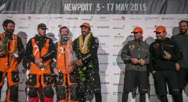 NEWPORT, RI - MAY 07: In this handout image provided by the Volvo Ocean Race, Team Alvimedica arrives to Newport in fifth position of Leg 6. The crew on stage during the finish of Leg 6 from Itajai to Newport on May 7, 2015 in Newport, Rhode Island. The Volvo Ocean Race 2014-15 is the 12th running of this ocean marathon. Starting from Alicante in Spain on October 11, 2014, the route, spanning some 39,379 nautical miles, visits 11 ports in eleven countries (Spain, South Africa, United Arab Emirates, China, New Zealand, Brazil, United States, Portugal, France, The Netherlands and Sweden) over nine months. The Volvo Ocean Race is the world's premier ocean yacht race for professional racing crews. (Photo by Billie Weiss / Volvo Ocean Race via Getty Images)