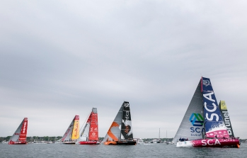 NEWPORT, RI - MAY 16: In this handout image provided by the Volvo Ocean Race, boats are shown at the start line during the Newport In-Port Race ahead of Leg 7 from Newport to Lisbon on May 16, 2015 in Newport, Rhodes Island. The Volvo Ocean Race 2014-15 is the 12th running of this ocean marathon. Starting from Alicante in Spain on October 04, 2014, the route, spanning some 39,379 nautical miles, visits 11 ports in eleven countries (Spain, South Africa, United Arab Emirates, China, New Zealand, Brazil, United States, Portugal, France, The Netherlands and Sweden) over nine months. The Volvo Ocean Race is the world's premier ocean yacht race for professional racing crews. (Photo by Billie Weiss / Volvo Ocean Race via Getty Images)