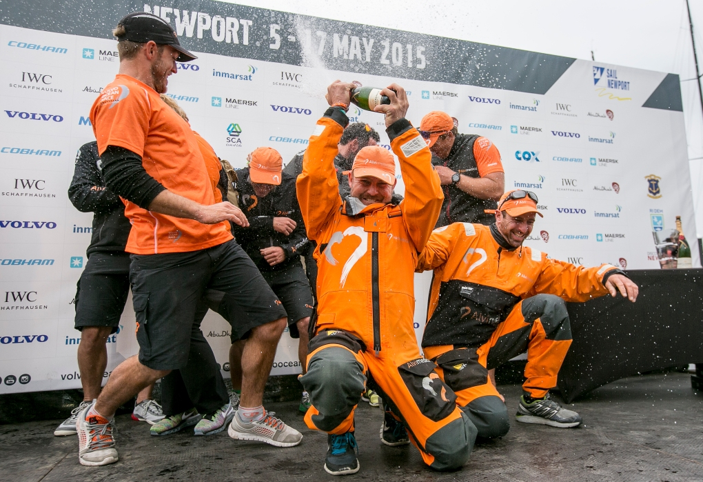 NEWPORT, RI - MAY 16: In this handout image provided by the Volvo Ocean Race, the Alvimedica team celebrates on stage after placing second during the Newport In-Port Race ahead of Leg 7 from Newport to Lisbon on May 16, 2015 in Newport, Rhodes Island. The Volvo Ocean Race 2014-15 is the 12th running of this ocean marathon. Starting from Alicante in Spain on October 04, 2014, the route, spanning some 39,379 nautical miles, visits 11 ports in eleven countries (Spain, South Africa, United Arab Emirates, China, New Zealand, Brazil, United States, Portugal, France, The Netherlands and Sweden) over nine months. The Volvo Ocean Race is the world's premier ocean yacht race for professional racing crews. (Photo by Billie Weiss / Volvo Ocean Race via Getty Images)