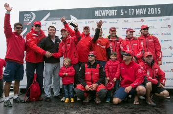 NEWPORT, RI - MAY 16: In this handout image provided by the Volvo Ocean Race, the Mapfre team poses on stage after placing first during the Newport In-Port Race ahead of Leg 7 from Newport to Lisbon on May 16, 2015 in Newport, Rhodes Island. The Volvo Ocean Race 2014-15 is the 12th running of this ocean marathon. Starting from Alicante in Spain on October 04, 2014, the route, spanning some 39,379 nautical miles, visits 11 ports in eleven countries (Spain, South Africa, United Arab Emirates, China, New Zealand, Brazil, United States, Portugal, France, The Netherlands and Sweden) over nine months. The Volvo Ocean Race is the world's premier ocean yacht race for professional racing crews. (Photo by Billie Weiss / Volvo Ocean Race via Getty Images)