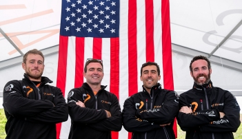 NEWPORT, RI - MAY 16: In this handout image provided by the Volvo Ocean Race, the American members of team Alvimedica pose during the Newport In-Port Race ahead of Leg 7 from Newport to Lisbon on May 16, 2015 in Newport, Rhodes Island. The Volvo Ocean Race 2014-15 is the 12th running of this ocean marathon. Starting from Alicante in Spain on October 04, 2014, the route, spanning some 39,379 nautical miles, visits 11 ports in eleven countries (Spain, South Africa, United Arab Emirates, China, New Zealand, Brazil, United States, Portugal, France, The Netherlands and Sweden) over nine months. The Volvo Ocean Race is the world's premier ocean yacht race for professional racing crews. (Photo by Billie Weiss / Volvo Ocean Race via Getty Images)
