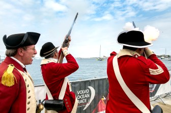 NEWPORT, RI - MAY 16: In this handout image provided by the Volvo Ocean Race, musket men fire guns during the Newport In-Port Race ahead of Leg 7 from Newport to Lisbon on May 16, 2015 in Newport, Rhodes Island. The Volvo Ocean Race 2014-15 is the 12th running of this ocean marathon. Starting from Alicante in Spain on October 04, 2014, the route, spanning some 39,379 nautical miles, visits 11 ports in eleven countries (Spain, South Africa, United Arab Emirates, China, New Zealand, Brazil, United States, Portugal, France, The Netherlands and Sweden) over nine months. The Volvo Ocean Race is the world's premier ocean yacht race for professional racing crews. (Photo by Billie Weiss / Volvo Ocean Race via Getty Images)