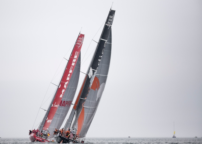 NEWPORT, RI - MAY 16: In this handout image provided by the Volvo Ocean Race, boats are shown racing during the Newport In-Port Race ahead of Leg 7 from Newport to Lisbon on May 16, 2015 in Newport, Rhodes Island. The Volvo Ocean Race 2014-15 is the 12th running of this ocean marathon. Starting from Alicante in Spain on October 04, 2014, the route, spanning some 39,379 nautical miles, visits 11 ports in eleven countries (Spain, South Africa, United Arab Emirates, China, New Zealand, Brazil, United States, Portugal, France, The Netherlands and Sweden) over nine months. The Volvo Ocean Race is the world's premier ocean yacht race for professional racing crews. (Photo by Billie Weiss / Volvo Ocean Race via Getty Images)