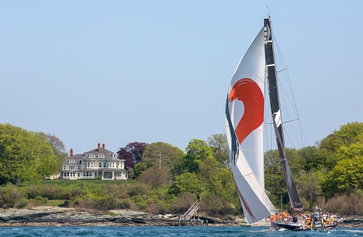 NEWPORT, RI - MAY 17: In this handout image provided by the Volvo Ocean Race, the Alvimedica boat is shown racing during the start of Leg 7 from Newport to Lisbon on May 17, 2015 in Newport, Rhode Island. The Volvo Ocean Race 2014-15 is the 12th running of this ocean marathon. Starting from Alicante in Spain on October 11, 2014, the route, spanning some 39,379 nautical miles, visits 11 ports in eleven countries (Spain, South Africa, United Arab Emirates, China, New Zealand, Brazil, United States, Portugal, France, The Netherlands and Sweden) over nine months. The Volvo Ocean Race is the world's premier ocean yacht race for professional racing crews. (Photo by Billie Weiss / Volvo Ocean Race via Getty Images)