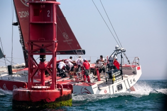 NEWPORT, RI - MAY 17: In this handout image provided by the Volvo Ocean Race, the Mapfre boat passes a bouy during the start of Leg 7 from Newport to Lisbon on May 17, 2015 in Newport, Rhode Island. The Volvo Ocean Race 2014-15 is the 12th running of this ocean marathon. Starting from Alicante in Spain on October 11, 2014, the route, spanning some 39,379 nautical miles, visits 11 ports in eleven countries (Spain, South Africa, United Arab Emirates, China, New Zealand, Brazil, United States, Portugal, France, The Netherlands and Sweden) over nine months. The Volvo Ocean Race is the world's premier ocean yacht race for professional racing crews. (Photo by Billie Weiss / Volvo Ocean Race via Getty Images)