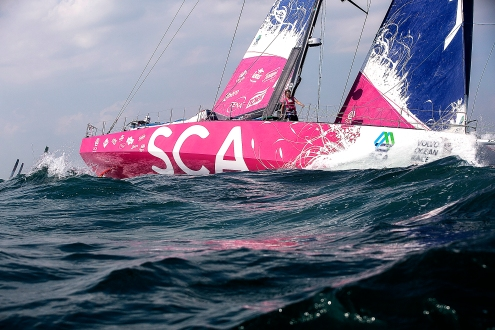 NEWPORT, RI - MAY 17: In this handout image provided by the Volvo Ocean Race, the SCA boat is shown racing during the start of Leg 7 from Newport to Lisbon on May 17, 2015 in Newport, Rhode Island. The Volvo Ocean Race 2014-15 is the 12th running of this ocean marathon. Starting from Alicante in Spain on October 11, 2014, the route, spanning some 39,379 nautical miles, visits 11 ports in eleven countries (Spain, South Africa, United Arab Emirates, China, New Zealand, Brazil, United States, Portugal, France, The Netherlands and Sweden) over nine months. The Volvo Ocean Race is the world's premier ocean yacht race for professional racing crews. (Photo by Billie Weiss / Volvo Ocean Race via Getty Images)