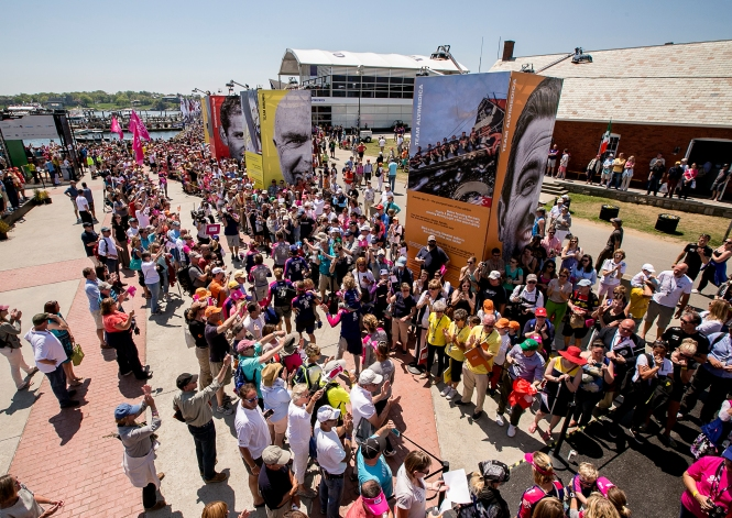 NEWPORT, RI - MAY 17: In this handout image provided by the Volvo Ocean Race, a parade is held during the start of Leg 7 from Newport to Lisbon on May 17, 2015 in Newport, Rhode Island. The Volvo Ocean Race 2014-15 is the 12th running of this ocean marathon. Starting from Alicante in Spain on October 11, 2014, the route, spanning some 39,379 nautical miles, visits 11 ports in eleven countries (Spain, South Africa, United Arab Emirates, China, New Zealand, Brazil, United States, Portugal, France, The Netherlands and Sweden) over nine months. The Volvo Ocean Race is the world's premier ocean yacht race for professional racing crews. (Photo by Billie Weiss / Volvo Ocean Race via Getty Images)