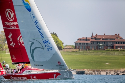 NEWPORT, RI - MAY 17: In this handout image provided by the Volvo Ocean Race, the Dongfeng boat is shown racing during the start of Leg 7 from Newport to Lisbon on May 17, 2015 in Newport, Rhode Island. The Volvo Ocean Race 2014-15 is the 12th running of this ocean marathon. Starting from Alicante in Spain on October 11, 2014, the route, spanning some 39,379 nautical miles, visits 11 ports in eleven countries (Spain, South Africa, United Arab Emirates, China, New Zealand, Brazil, United States, Portugal, France, The Netherlands and Sweden) over nine months. The Volvo Ocean Race is the world's premier ocean yacht race for professional racing crews. (Photo by Billie Weiss / Volvo Ocean Race via Getty Images)