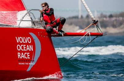 NEWPORT, RI - MAY 17: In this handout image provided by the Volvo Ocean Race, a sailor on the Mapfre boat is shown during the start of Leg 7 from Newport to Lisbon on May 17, 2015 in Newport, Rhode Island. The Volvo Ocean Race 2014-15 is the 12th running of this ocean marathon. Starting from Alicante in Spain on October 11, 2014, the route, spanning some 39,379 nautical miles, visits 11 ports in eleven countries (Spain, South Africa, United Arab Emirates, China, New Zealand, Brazil, United States, Portugal, France, The Netherlands and Sweden) over nine months. The Volvo Ocean Race is the world's premier ocean yacht race for professional racing crews. (Photo by Billie Weiss / Volvo Ocean Race via Getty Images)