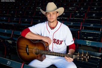 """Boston Red Sox pitcher Clay Buchholz poses for a portrait to promote Country Western Night at Fenway Park in Boston, Massachusetts Saturday, May 23, 2015."""