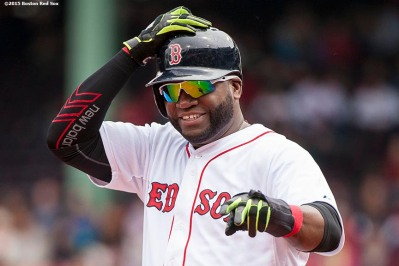 """Boston Red Sox designated hitter David Ortiz reacts during the second inning of a game against the Minnesota Twins at Fenway Park in Boston, Massachusetts Wednesday, June 3, 2015."""