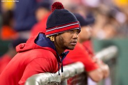 """Boston Red Sox left fielder Hanley Ramirez looks on during the fifth inning of the second game of a day-night double header against the Minnesota Twins at Fenway Park in Boston, Massachusetts Wednesday, June 3, 2015."""
