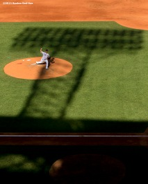 """Boston Red Sox pitcher Steven Wright delivers during a game against the Minnesota Twins at Fenway Park in Boston, Massachusetts Thursday, June 4, 2015."""