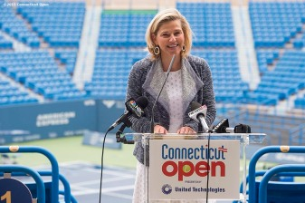 """""""Tournament Director Anne Worcester speaks during a press conference at the Connecticut Tennis Center to announce the new Connecticut Open 50/50 Project and the renewal of United Technologies sponsorship of the tournament through the 2017 in New Haven, Connecticut Tuesday, June 9, 2015."""""""