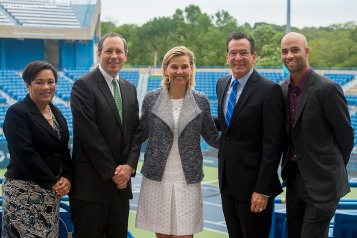 """(From left to right) New Haven Mayor Toni Harp, Vice President of State Government Relations for United Technologies Peter Holland, Tournament Director Anne Worcester, Connecticut Governor Dannel P. Malloy, and former ATP World Tour star and Connecticut Open Legends Event Participant James Blake pose for a photograph during a press conference at the Connecticut Tennis Center to announce the new Connecticut Open 50/50 Project and the renewal of United Technologies sponsorship of the tournament through the 2017."""
