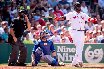 """""""Boston Red Sox designated hitter David Ortiz hits a solo home run during the sixth inning of a game against the Toronto Blue Jays at Fenway Park in Boston, Massachusetts Saturday, June 13, 2015."""""""