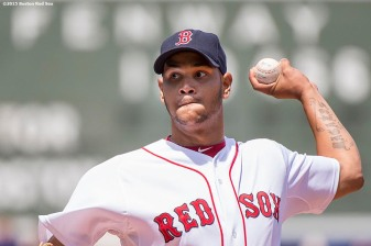 """Boston Red Sox pitcher Eduardo Rodriguez delivers during the first inning of a game against the Toronto Blue Jays at Fenway Park in Boston, Massachusetts Sunday, June 14, 2015."""