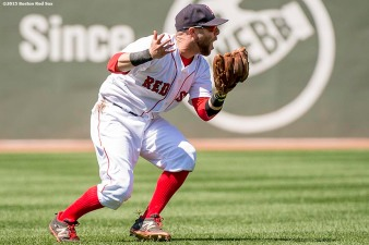 """Boston Red Sox second baseman Dustin Pedroia reacts as he loses the ball in the sun during the fourth inning of a game against the Toronto Blue Jays at Fenway Park in Boston, Massachusetts Sunday, June 14, 2015."""