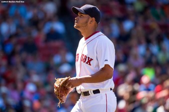 """""""Boston Red Sox pitcher Eduardo Rodriguez reacts during the sixth inning of a game against the Toronto Blue Jays at Fenway Park in Boston, Massachusetts Sunday, June 14, 2015."""""""