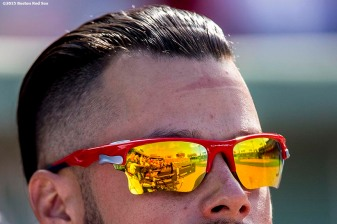 """""""Boston Red Sox pitcher Joe Kelly looks on during the seventh inning of a game against the Toronto Blue Jays at Fenway Park in Boston, Massachusetts Sunday, June 14, 2015."""""""