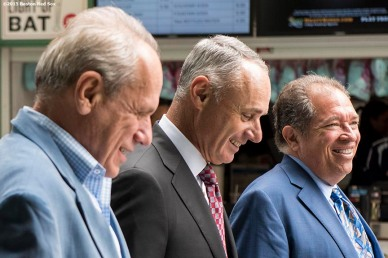 """""""Major League Baseball Commissioner Rob Manfred walks with Boston Red Sox President & CEO Larry Lucchino and Executive Vice President & Senior Advisor to the President/CEO Dr. Charles Steinberg after speaking to the Boston Red Sox Front Office at Fenway Park in Boston, Massachusetts Monday, June 16, 2015."""""""
